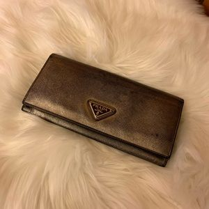 Prada metallic open face wallet